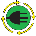 E-waste recycling logo for Kankakee County recycling center.